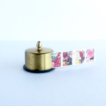 Vintage Brass Postage Stamp Keeper