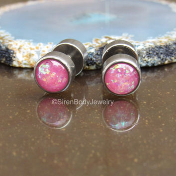 Fake plug earrings set 16g pink opal stainless steel 316L flat back earring screw fit faux stretched earlobe body jewelry small gauges pair