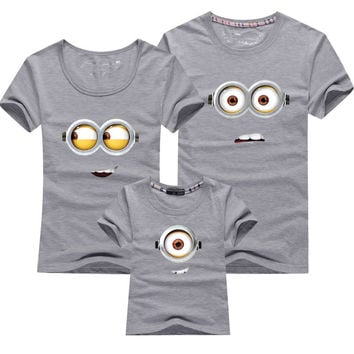 1PCS Cotton Family Matching Outfits Minions T Shirts mother & kids T-shirt Family Clothing Mother And Daughter Clothes