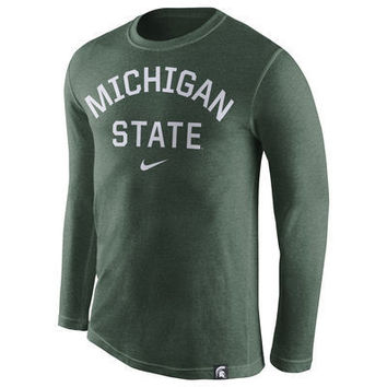 NCAA Nike Michigan State Spartans Mens Heather Green Conviction Long Sleeve Tri-Blend T-Shirt