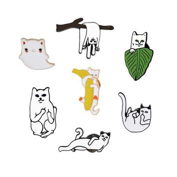 ac DCCKO2Q 7 Style Cartoon Cute Funny Cat Enamel Brooch Creative Personality Cats Animal Brooches Pin Collar Sweater Hat Decoration Jewelry