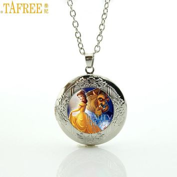 TAFREE Brand cartoon movie beauty and the beast locket necklace women kids pendant jewelry 2017 fashion children girls gift CT11
