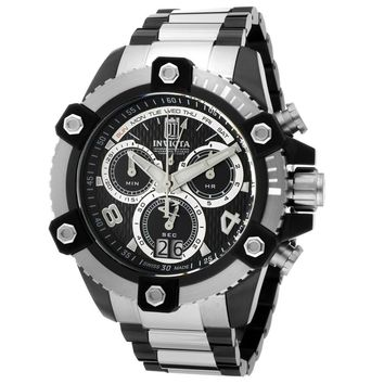 Invicta 13048 Men's Reserve Jason Taylor Arsenal Two Tone Bracelet Black Dial Chronograph Watch