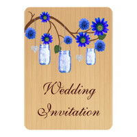Rustic Wood Blue Flowers Mason Jars Wedding Collec