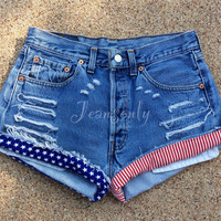 American flag shorts High waisted denim shorts