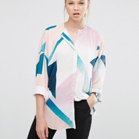 ASOS Collarless Blouse in Abstract Print at asos.com