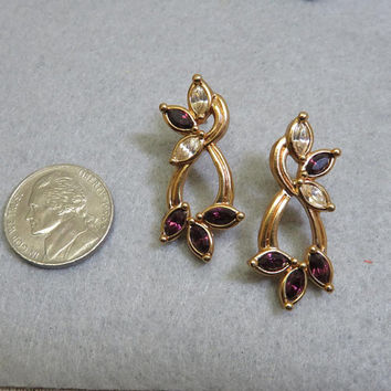 Rhinestone Avon Pierced Earrings, Vintage Brown and Clear, MINT
