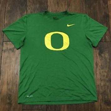 Nike Dri-Fit Oregon Ducks Green Yellow Athletic Cut Gym Workout Shirt Mens Large