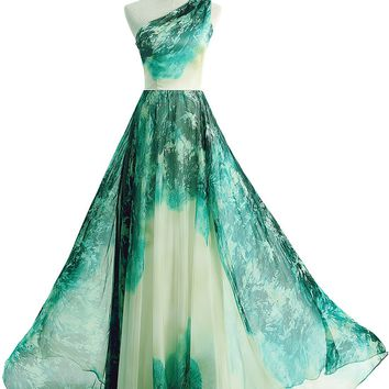 Sunvary Retro Chiffon Floral Long Mother of the Bride Formal Dresses Prom Gowns - US Size 26W- Gradient