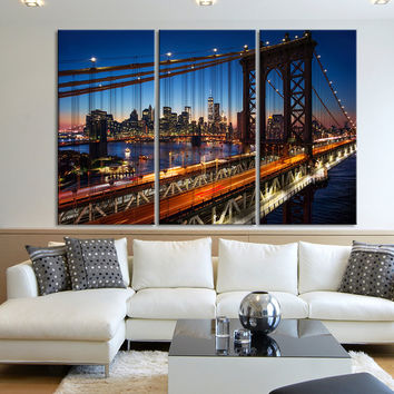 Large Wall Art Canvas Print 3 Piece New York City- Large 3 Panel Beautiful Sunset over Manhattan and Brooklyn Bridge Photo Wall Art