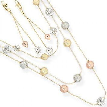 Gold Layered 06.59.0036 Necklace, Bracelet and Earring, Ball Design, with White Crystal, Polished Finish, Tri Tone