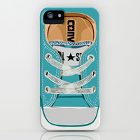 Cute converse all star Blue teal baby shoes apple iPhone 4 4s, 5 5s 5c, iPod & samsung galaxy s4 case by Three Second