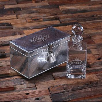 Set of 9 Personalized Engraved Scotch Whiskey Decanter Bottle with Metal Case Lock Groomsmen, Man Cave, Just Married, Christmas Gift for Him
