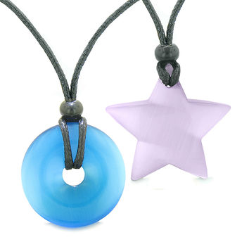 Large Coin Donut Super Star Amulet Love Couple or Best Friends Sky Blue Purple Cats Eye Pendant Necklaces