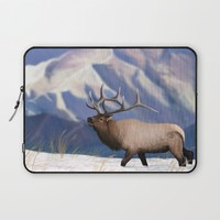 Elk in the snow  Laptop Sleeve by North Star Artwork