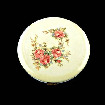 Rex Fifth Avenue Celluloid Powder Compact with  Pink Roses