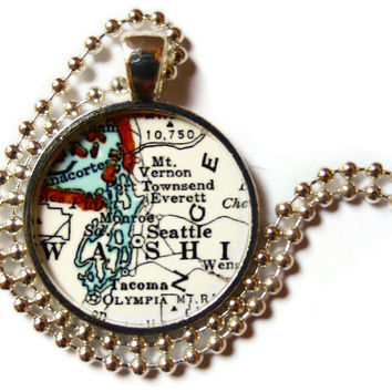 Seattle, Washington vintage map pendant charm, map necklace, Seattle Jewelry