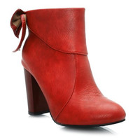PU High Heel Boots With Bowknot and Zipper Design