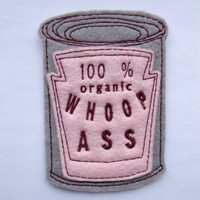Iron on Patch Can of 100% organic Whoop Ass Applique in Pink