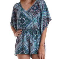 Blue Combo Scarf Print Kimono Sleeve Romper by Charlotte Russe