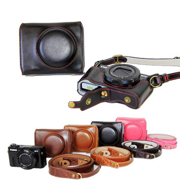 New Luxury Leather Camera Case For Canon Powershot G7X Mark 2 G7X II G7X2 Digital Camera PU Leather Camera Bag Cover + strap