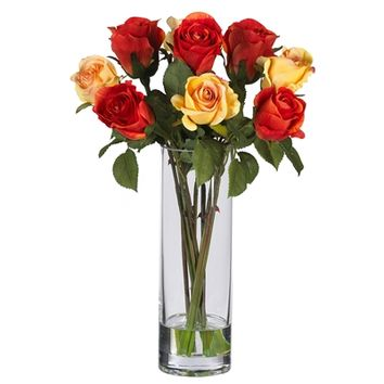 SheilaShrubs.com: Roses w/Glass Vase Silk Flower Arrangement 4740 by Nearly Natural : Artificial Flowers & Plants