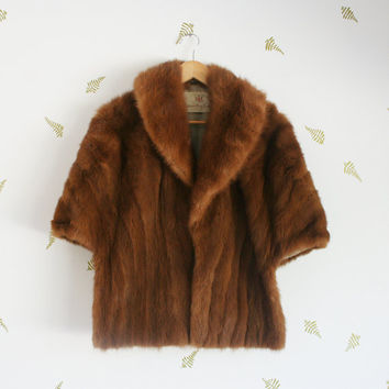 vintage 50s mink fur cape / hudson's bay company / chestnut brown / womens coat / fall + winter / medium