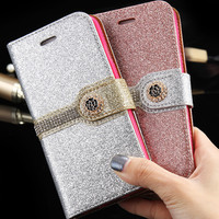 Wallet Glitter Leather Diamond Rhinestone Case Cover For Apple iPhone 5 5S SE With Photo Frame Rose Flora Phone Accessories