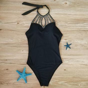 One Piece Bathing Suit Sexy 2018 New Beaded High Collar Swimsuit Monokini Women  Swimwear Black Backless Bodysuit Summer Beach Bathing Suits KO_9_1