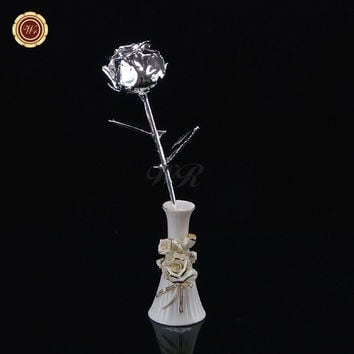 WR Wedding Decoration Rare Silver Foil Real Rose Flower Festival Gift Idea Beautiful Home Office Desktop Ornaments /w Vase 25cm