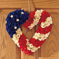 "13"" Patriotic Heart Wreath Americana 4th of July Red White Blue Wall Door Decor"