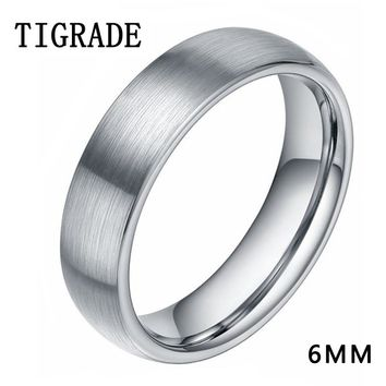 Brand 8mm 6mm Brushed Simple Silver Titanium Ring Men High Polished Wedding Band Engagement Rings For Women Fashion Male Jewelry