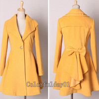 Women's Yellow/Black/Red Color Princess style Bowknot Cape Coat Long Wool Jacket Cashmere Coat Long Coat Hoodie Wool Coat Winter Jacket S-XL