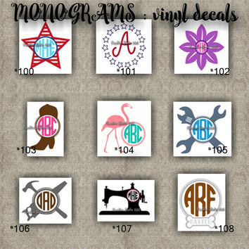 MONOGRAM vinyl decals | name | initial | decal | sticker | car decals | car stickers | laptop sticker - 100-108