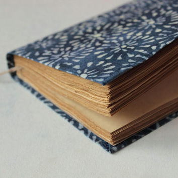 batik fabric journal, travel journal, blank book journal, antique diary, notebook, old paper
