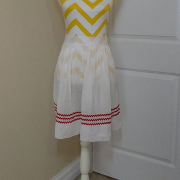 Vintage Dainty White Sheer Organza Kitchen Apron with Red Rick Rack Trim, Circa 1950s--1960s