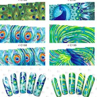 1sheets New Nail Art Sexy Peacock Floral Water Tattoos DIY Tips Nails Decorations of Nail Art Stickers Manicure Tools C196-199