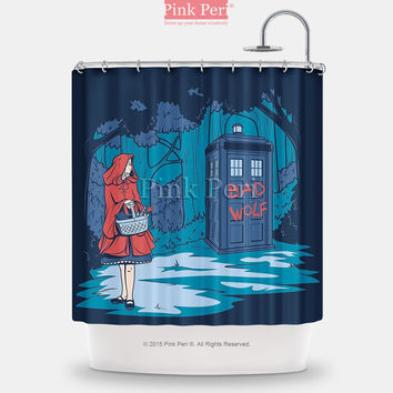 Doctor Who Tardis Bad Wolf Little Red Riding Hood Shower Curtain Home 234