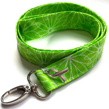 Lyme Awareness Fabric Lanyard Lime Green Floral Lanyard Lyme Disease Ribbon Lanyard Womens Fashion Lanyards Green Key Fob ID or Badge Holder