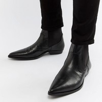 ASOS DESIGN Stacked Heel Boots In Black Faux Leather at asos.com
