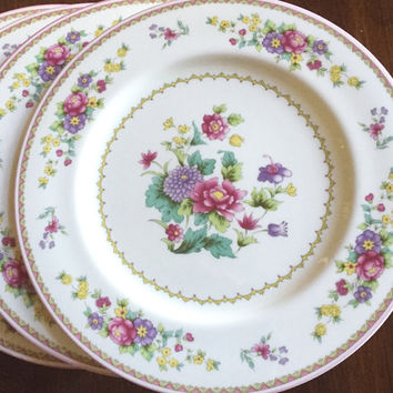 Shabby Cottage Dinner Plates, Mikasa Cheshire Bone China, Set of 4, 2 Sets Available, Each Set Sold Separately, Pink Floral, Bridal China