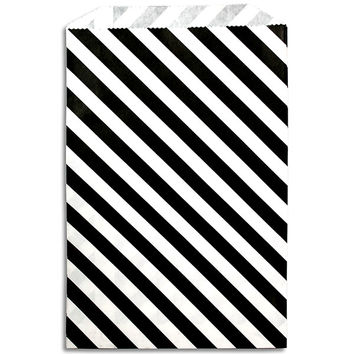 Black Diagonal Stripe Paper Bags
