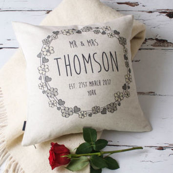 'Hearts And Flowers' Mr And Mrs Wedding Cushion Cover