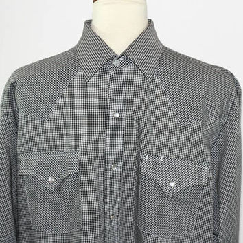 Men's Western Shirt Tiny Black & White Check Sz L Ely Shirt | Long Sleeve | Pearl Snap Buttons | Pencil Pocket | Cowboy Shirt | Square Dance