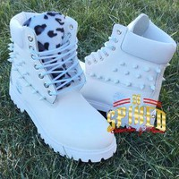 Custom white spiked leopard timberlands