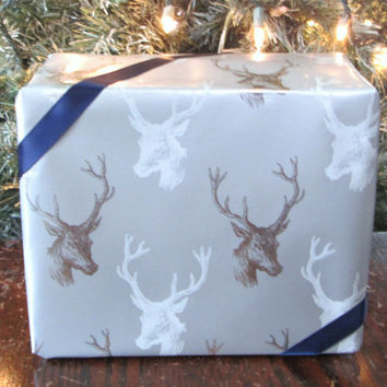 "White and Metallic Silver Deer Stag / Buck Christmas Wrapping Paper, 10 ft x 30"" Roll, Masculine Gift Wrap, Woodland Christmas"