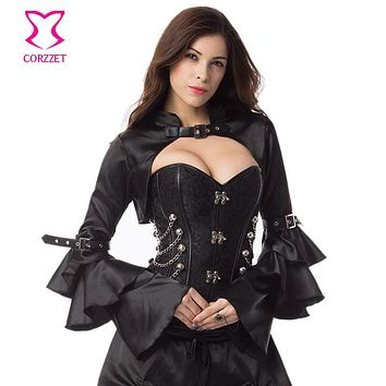 Black Satin Long Butterfly Sleeve Vintage Victorian Corset Costume Accessories Sexy Bolero Jacket Gothic Steampunk Coat Women