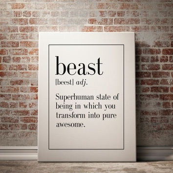 fun office wall decor photo. BEAST Definition Print Man Cave Decor Art Home Kitchen Wall Office Fun Photo