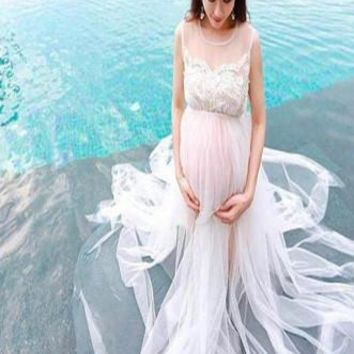 Sheer Lace Maternity Gown Dress Photo Prop - CCO25