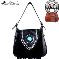 MW370G-916 Montana West Fringe Collection Concealed Carry Hobo Bag
